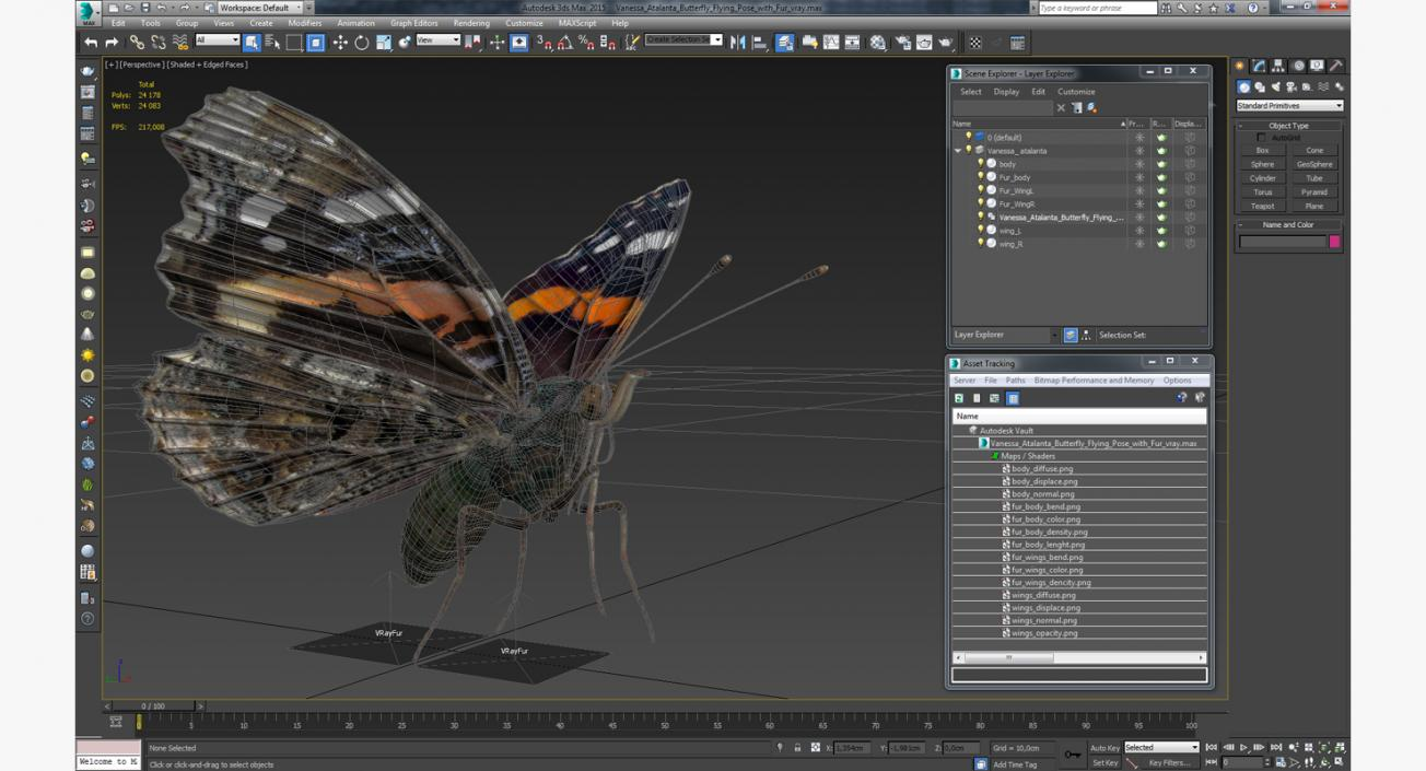 Vanessa Atalanta Butterfly Flying Pose with Fur 3D | 3D