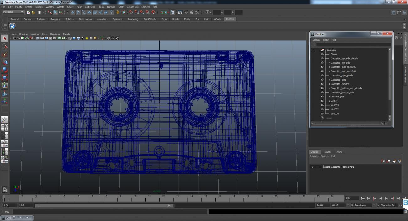 3D Vintage Blank Audio Cassette Tape model