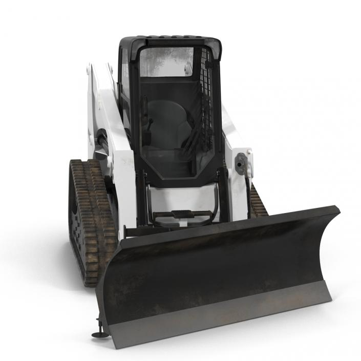 Compact Tracked Loader Bobcat With Blade Rigged 3D