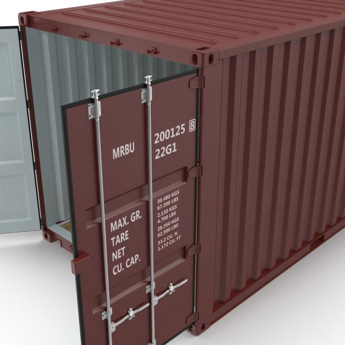 3D model 20 ft ISO Container Brown