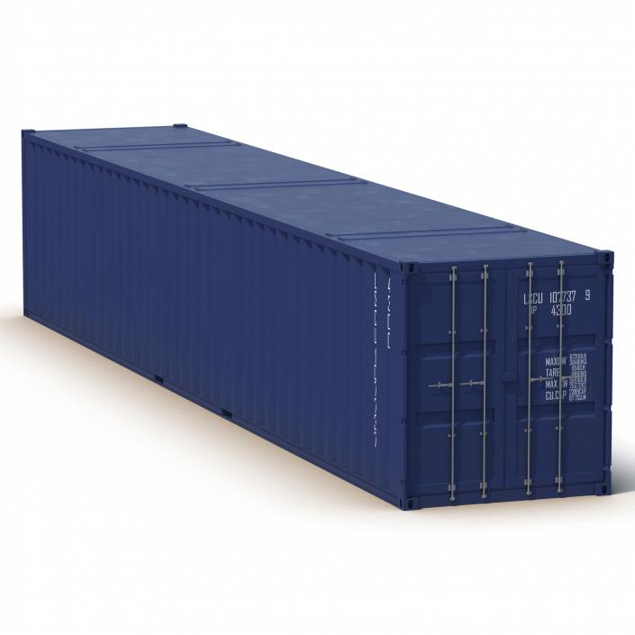 3D 48 ft Shipping ISO Container Blue model