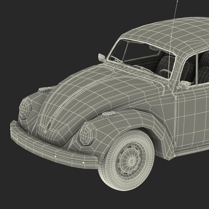 3D Volkswagen Beetle 1966 Rigged Blue 2