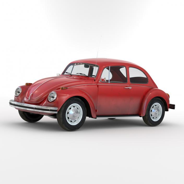 Volkswagen Beetle 1966 Simple Interior Red 3D
