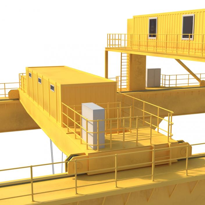 3D Rail Mounted Gantry Container Crane Yellow and 40 ft ISO Container