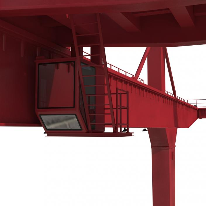 3D Rail Mounted Gantry Container Crane Red and 40 ft ISO Container model